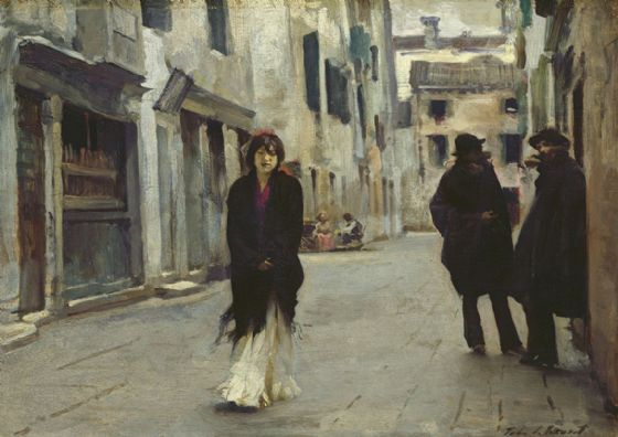 Sargent, John Singer: A Street in Venice, Italy. Fine Art Print/Poster. Sizes: A4/A3/A2/A1 (002381)